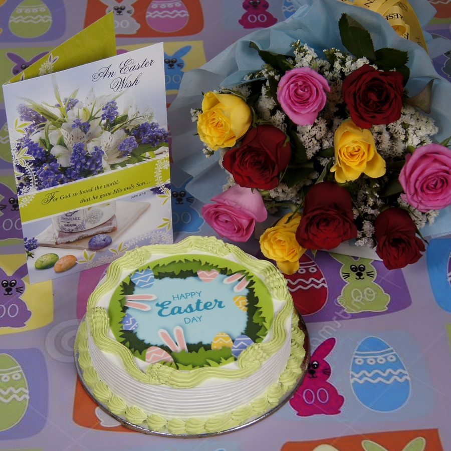 Easter Photo cake green 500gms eggless with card and bouquet of 10 mix roses