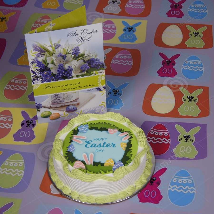 Easter Photo cake green 500gms eggless with card