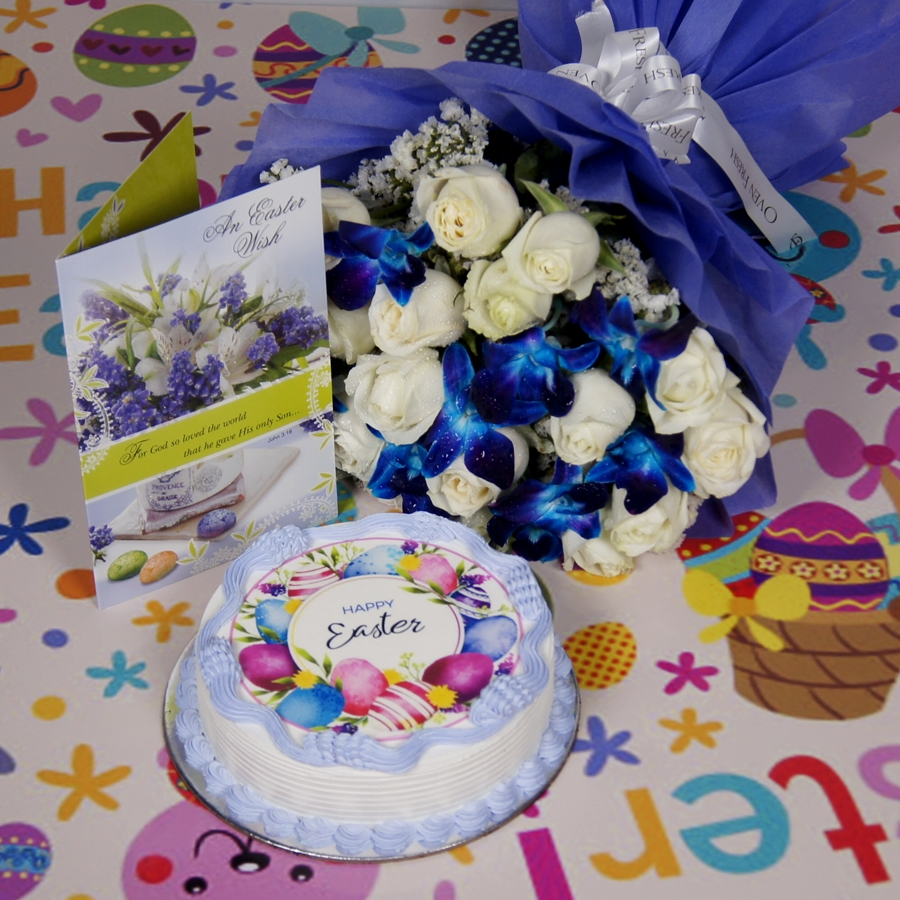 Easter Photo cake purple 500gms eggless with card and bouquet of white roses and blue orchids