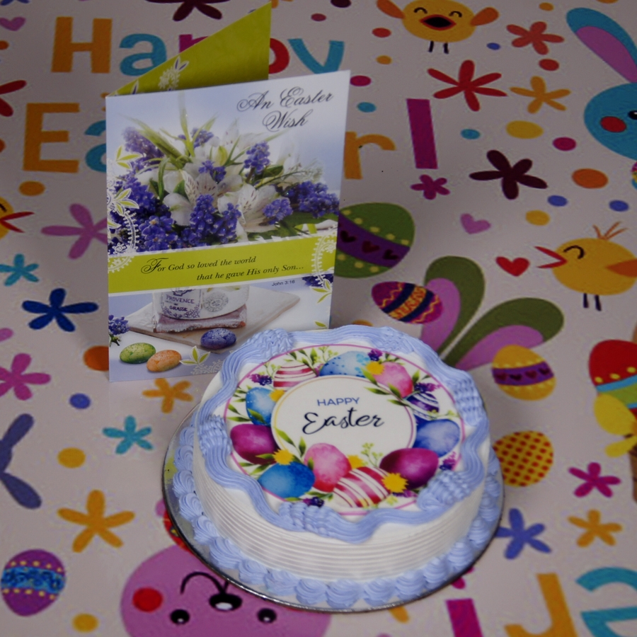 Easter Photo cake purple 500gms eggless with card