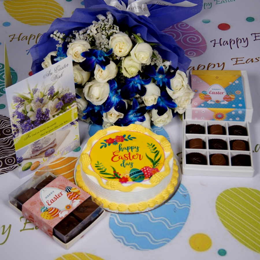 Easter Photo cake yellow Eggless with Card & bouquet of white roses and blue orchids & box of 6pc brownies  & box of 9 chocolate pralines