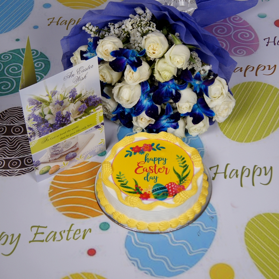 Easter Photo cake yellow Eggless with Card & bouquet of white roses and blue orchids