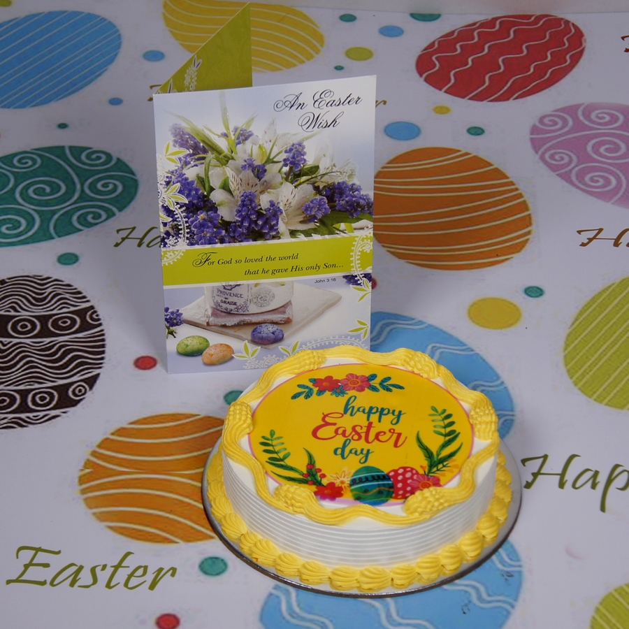 Easter Photo cake yellow Eggless with Card