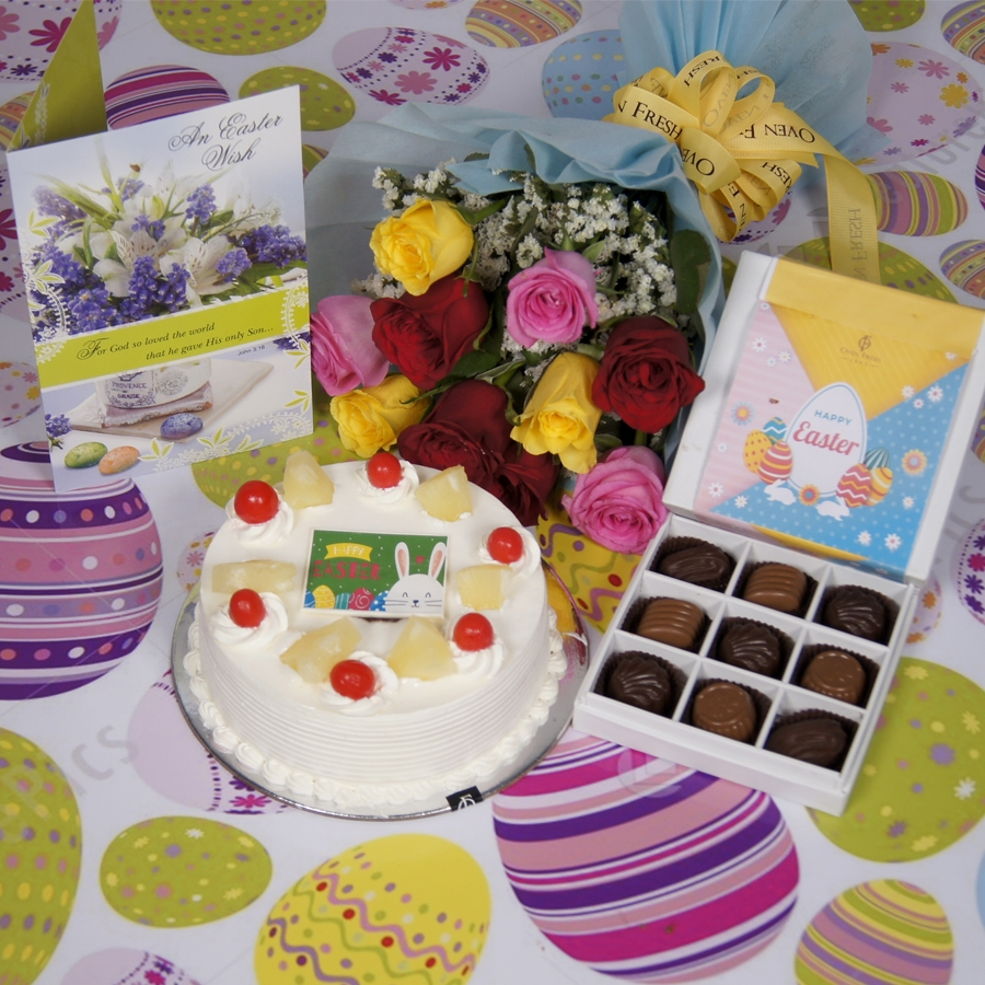 Easter Pineapple cake 500gms with card & bouquet of 10 mix roses & box of 9 chocolate pralines