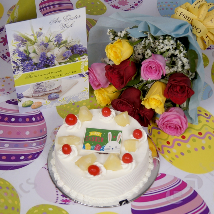 Easter Pineapple cake 500gms with card & bouquet of 10 mix roses