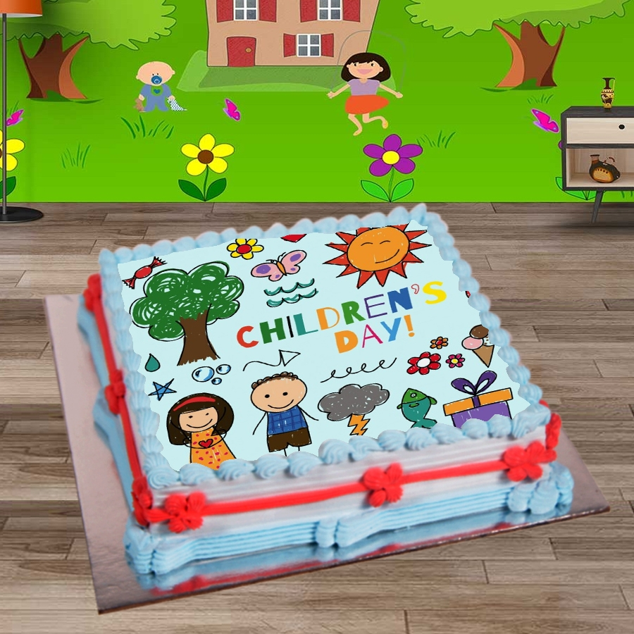 Happy Childrens day cartoon drawing 500gms eggless