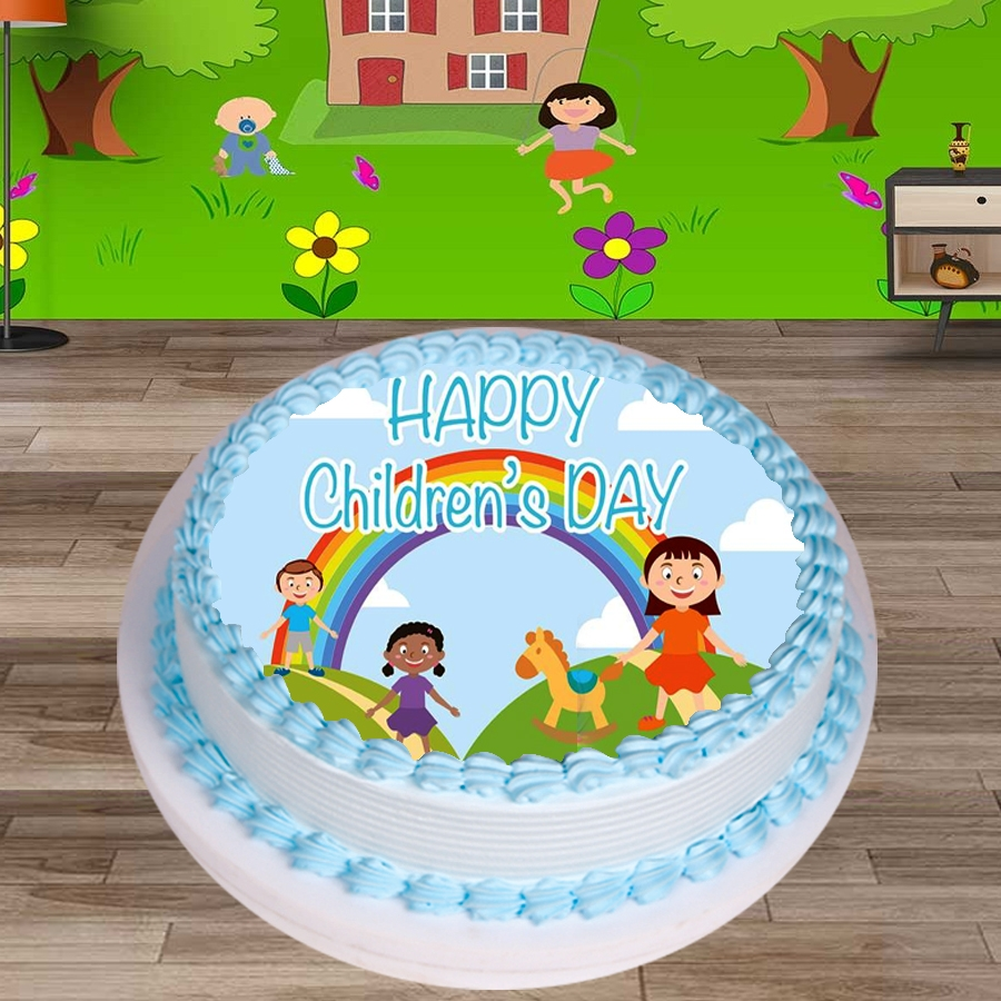 Happy Childrens day rainbow Round Shape 500gms Eggless