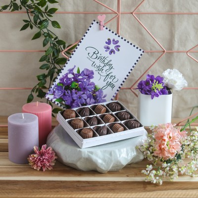 Box of 12 Chocolate Pralines and birthday card