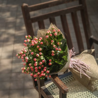 Bouquet of Pink Hypericum Berries