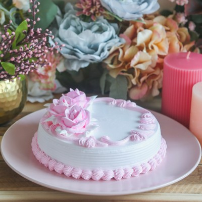 Pink Floral Cake 500gms Eggless