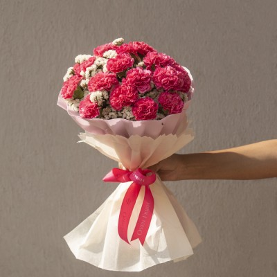 Hand Bouquet of 20 Pink Carnation and Limoniums