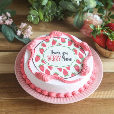 """Thank you berry much "" strawberry photo cake"