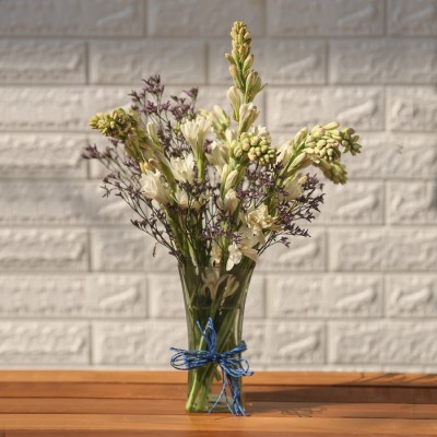 Vase of Tube Roses And Lavenders