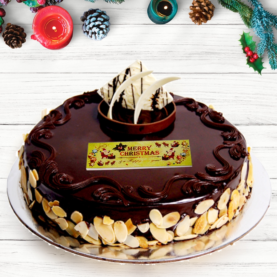Merry  Christmas Chocolate dutch truffle with almonds 500gms Eggless