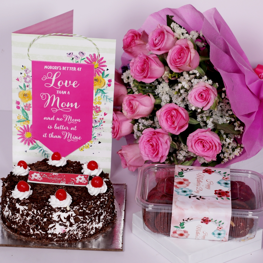 Mother Day Black Forest classic 500gms with card and boquet of 15 pink roses box of red velvet cookies(150gms)