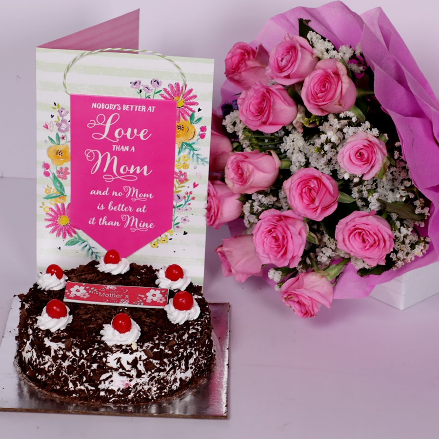 Mother Day Black Forest classic 500gms with card and boquet of 15 pink roses