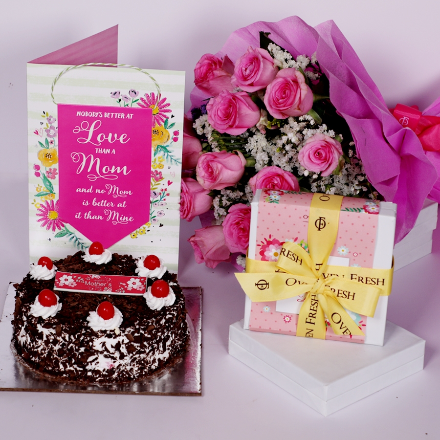 Mother Day Black Forest classic 500gms with card ,boquet of 15 pink roses and  box of 9pcs chocolate pralines