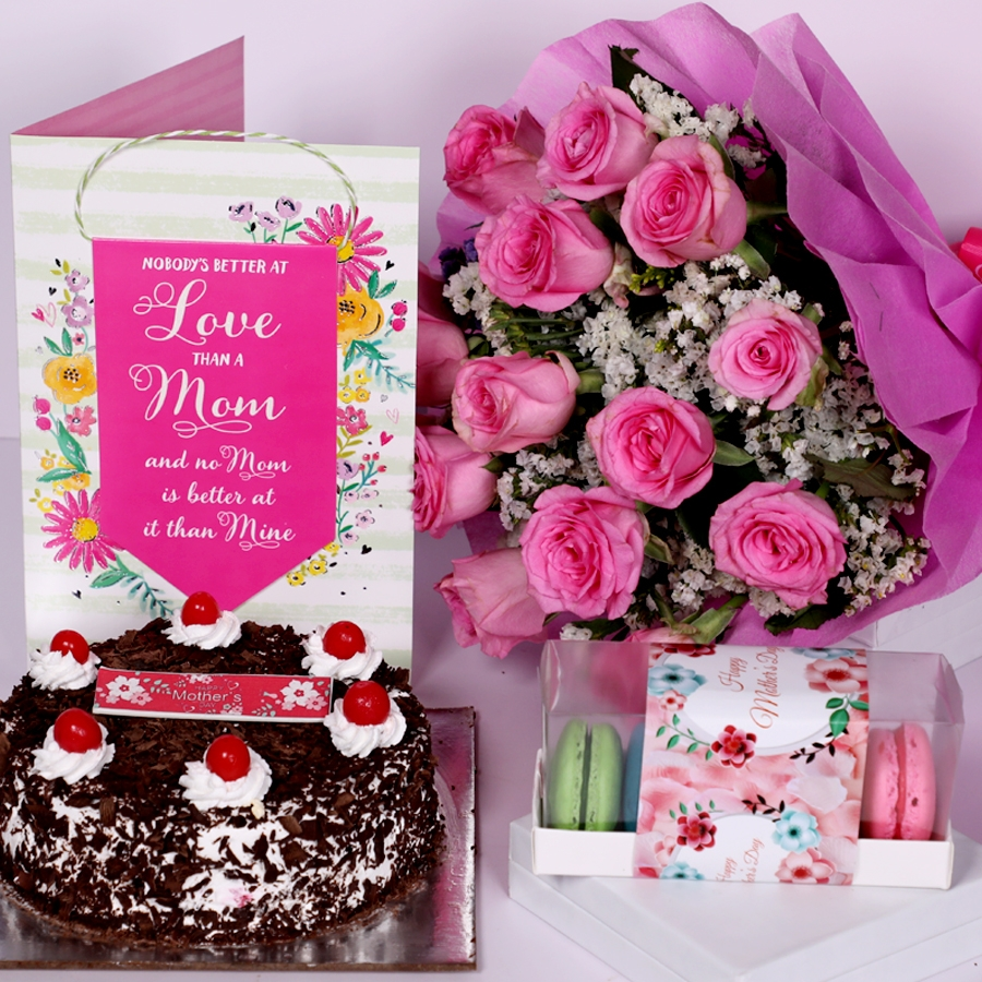 Mother Day Black Forest classic 500gms with card ,boquet of 15 pink roses &  box of 5 assorted Macarons