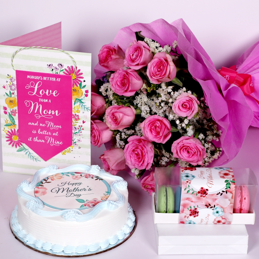 Mothers day Blue photo cake eggless 500gms With Card & Boquet of 15 pink Roses and  box of 5 macaroons