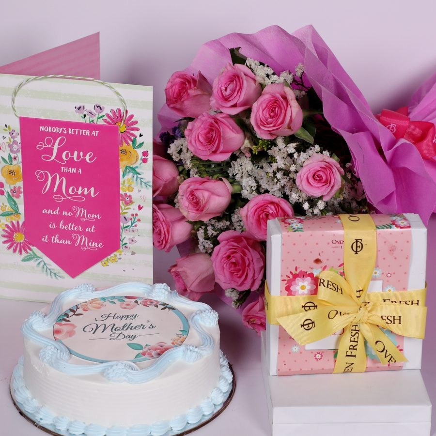 Mothers day Blue photo cake eggless 500gms With Card & Boquet of 15 pink Roses and box of 9pcs chocolate pralines