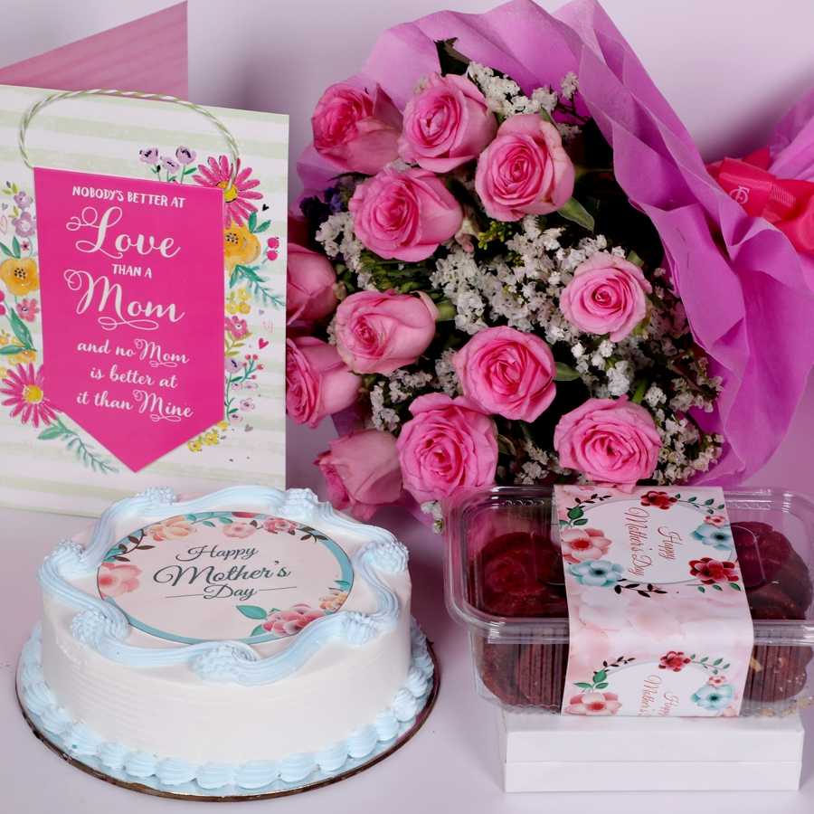 Mothers day Blue photo cake eggless 500gms With Card & Boquet of 15 pink Roses and box of red velvet cookies(150gms)
