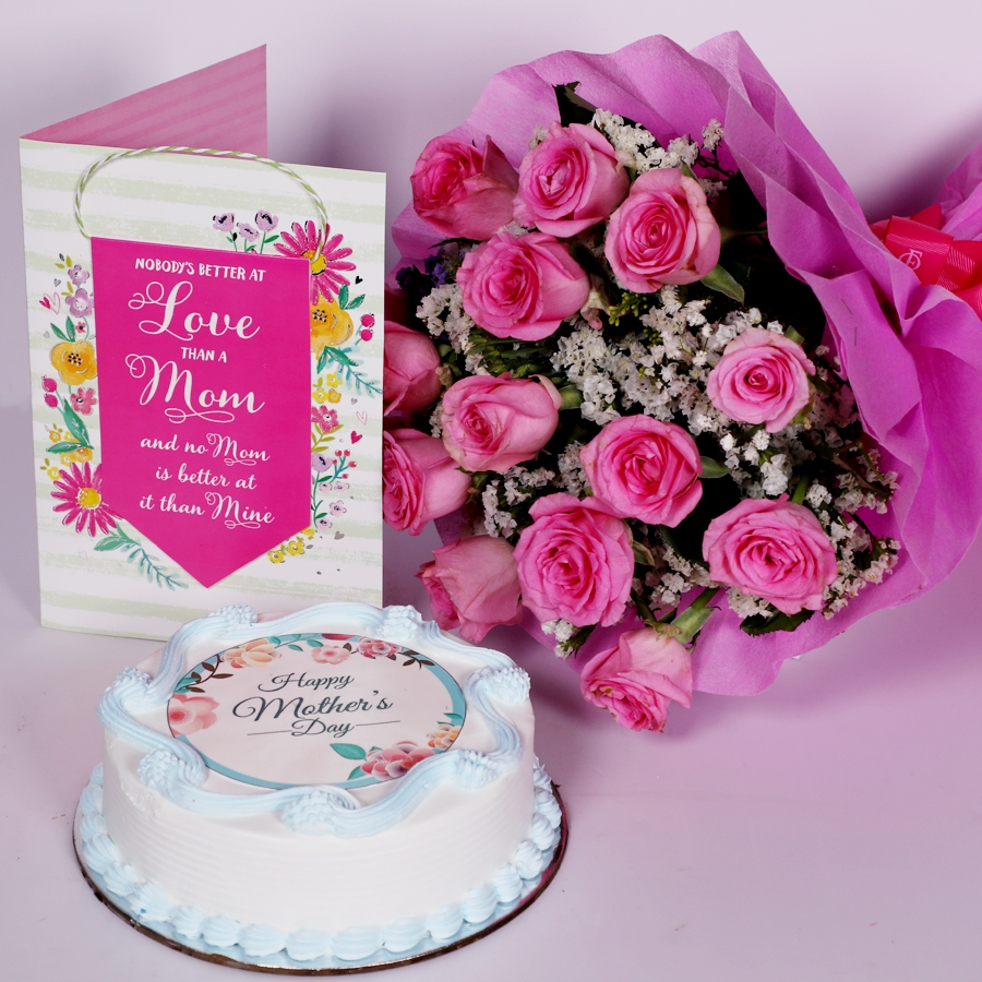 Mothers day Blue photo cake eggless 500gms With Card & Boquet of 15 pink Roses