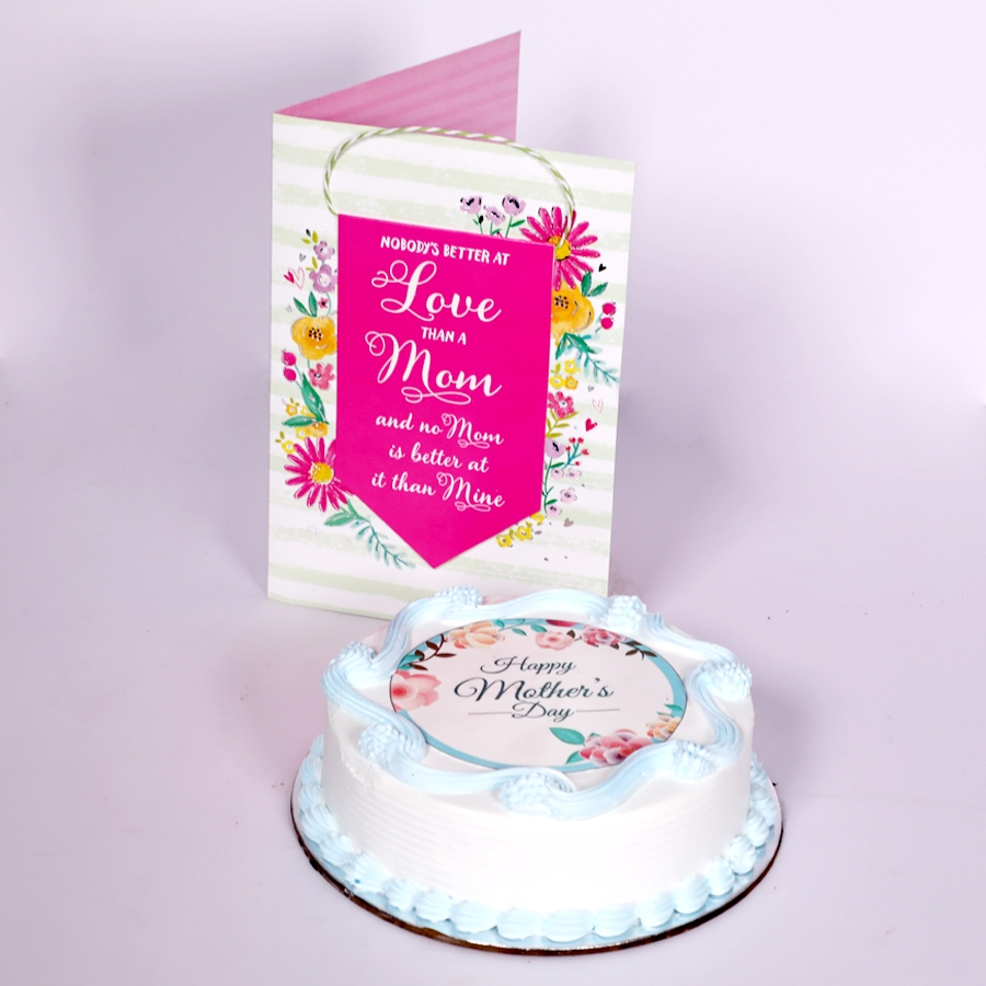 Mothers day Blue photo cake eggless 500gms With Card