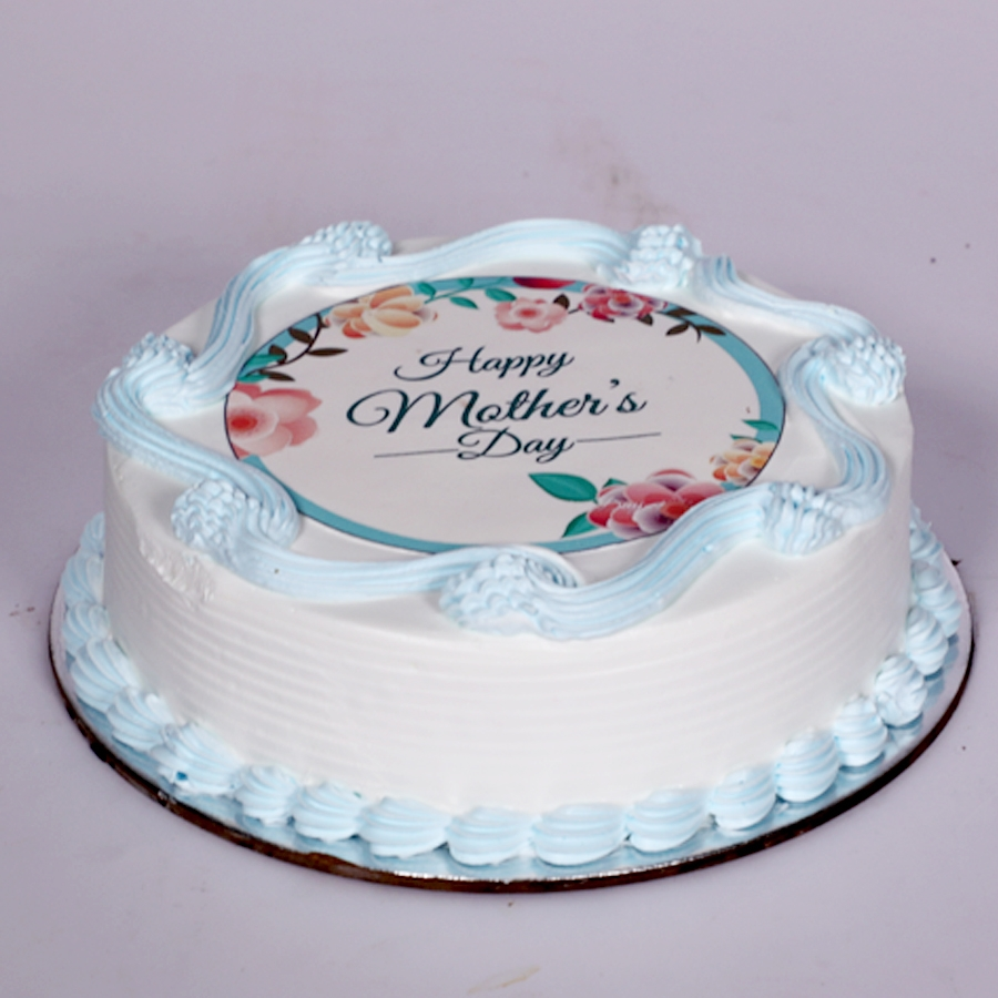 Mothers day Blue photo cake eggless 500gms