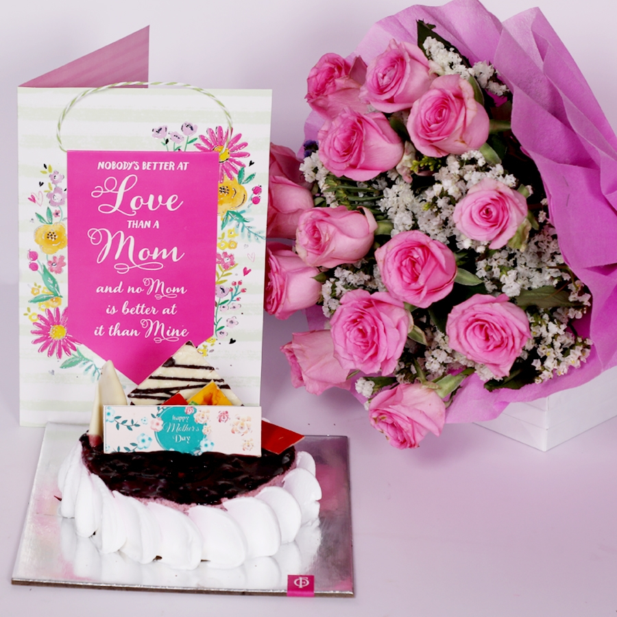 Mothers day Blueberry cheese cake 500gms eggless with Card and boquet of 15 pink roses