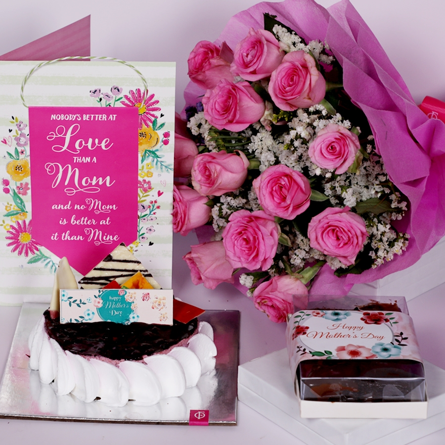 Mothers day Blueberry cheese cake 500gms eggless with Carda and boquet of 15 pink roses & box of 6pcs brownies