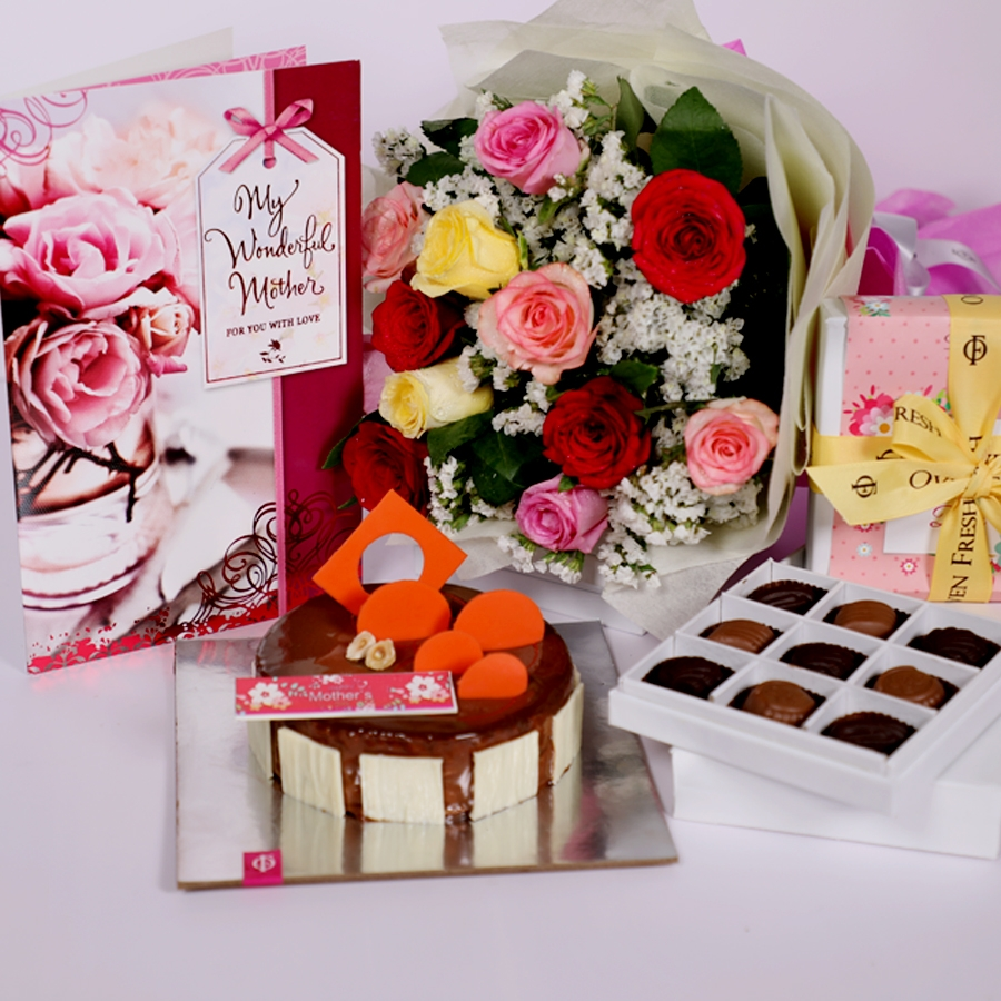 Mothers day caramel pannacotta 500gms with card,Box of 9 chocolate pralines & bouquet of 12 mix roses