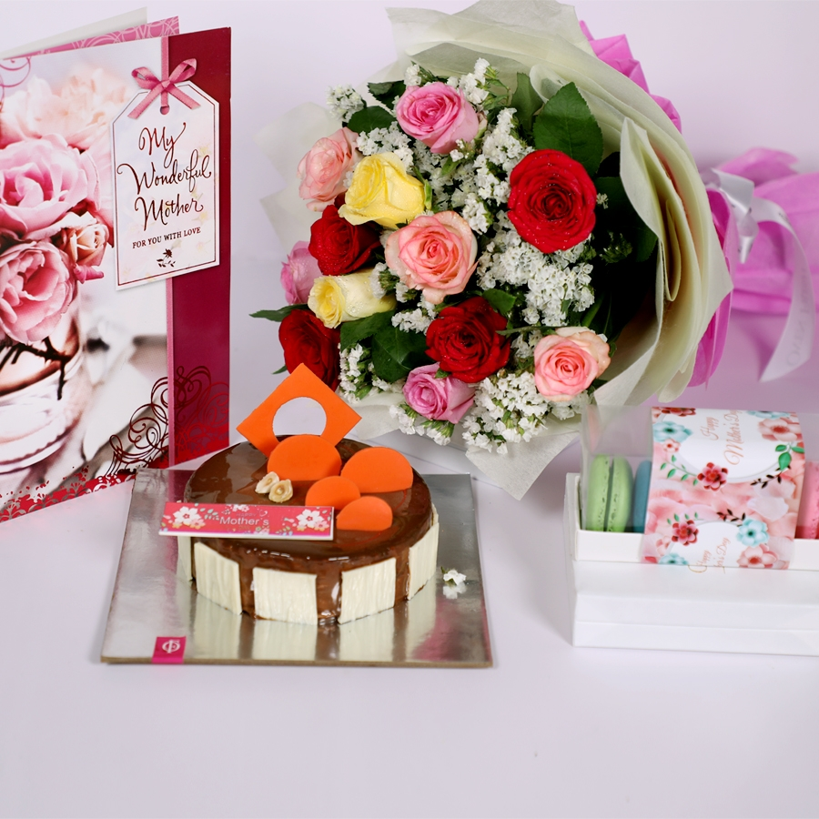 Mothers day caramel pannacotta 500gms with card,Box of 5 macaroons & bouquet of 12 mix roses