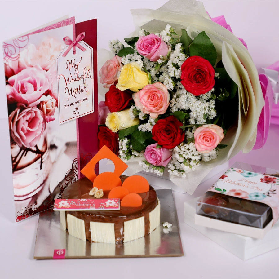 Mothers day caramel pannacotta 500gms with card,Box of 6pcs assorted brownies & bouquet of 12 mix roses