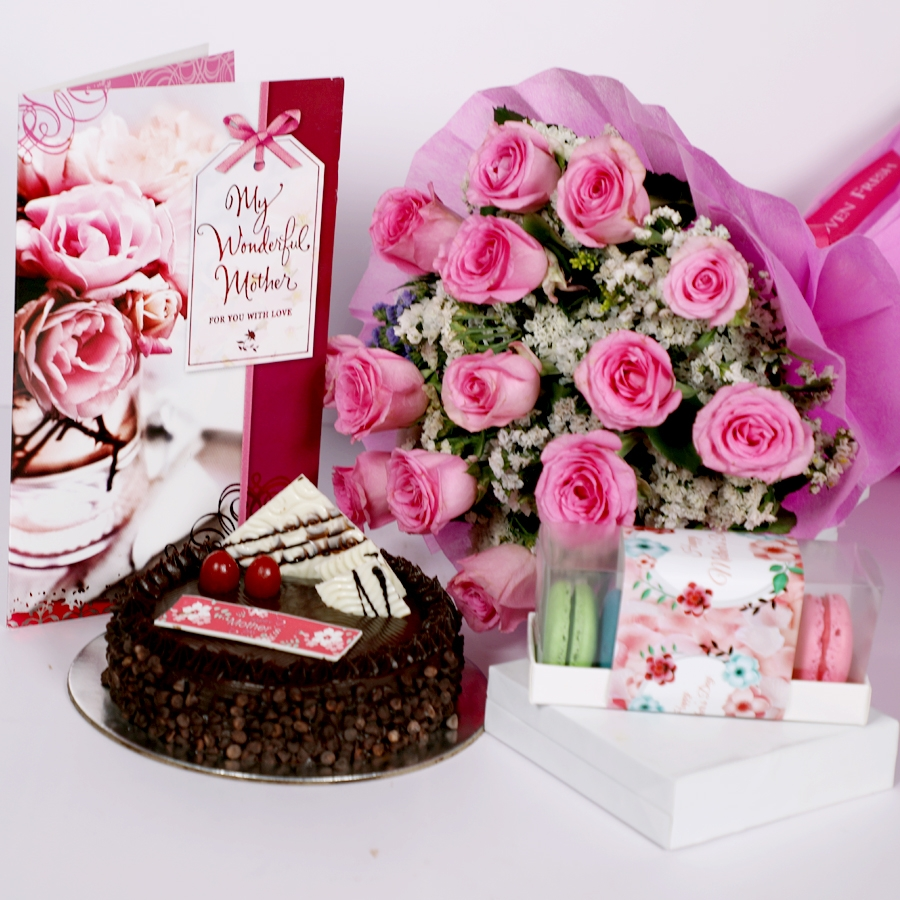 Mothers day Chocolate Chip dutch truffle cake 500gms with card & Bouquet of 15 Pink roses & box of 5 macaroons
