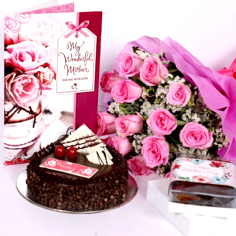 Mothers day Chocolate Chip dutch truffle cake 500gms with card & Bouquet of 15 Pink roses & box of  6pcs brownies