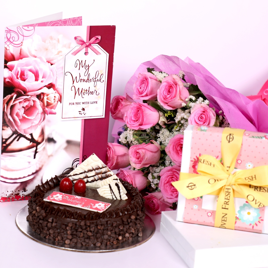 Mothers day Chocolate Chip dutch truffle cake 500gms with card & Bouquet of 15 Pink roses &  box of 9 chocolate pralines