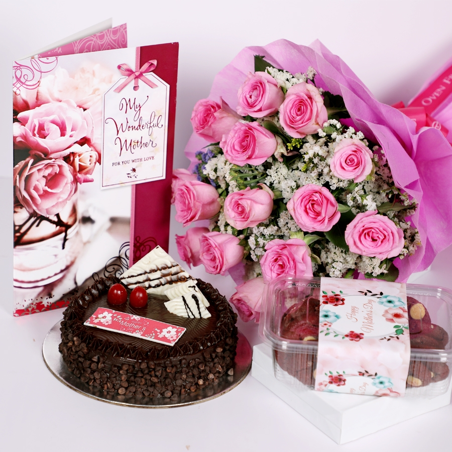 Mothers day Chocolate Chip dutch truffle cake 500gms with card & Bouquet of 15 Pink roses & box of assorted cookies 150gms