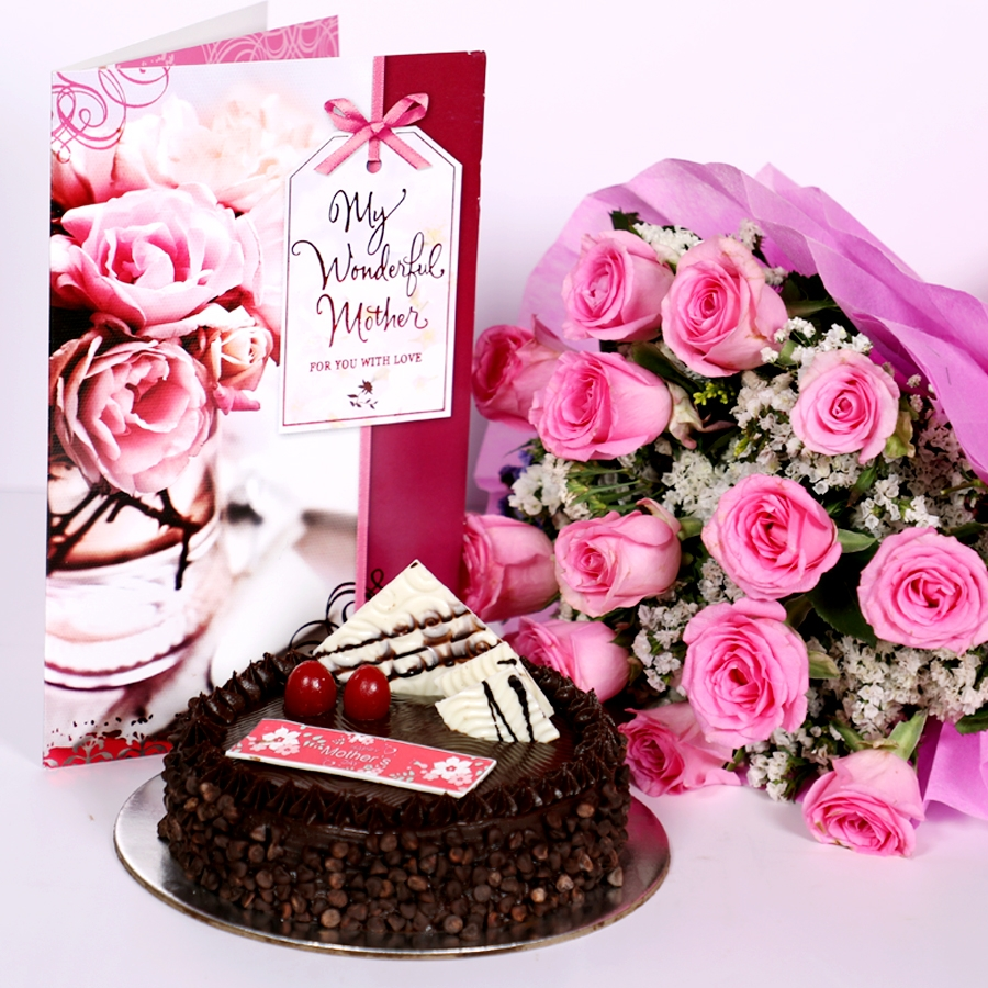 Mothers day Chocolate Chip dutch truffle cake 500gms with card & Bouquet of 15 Pink roses