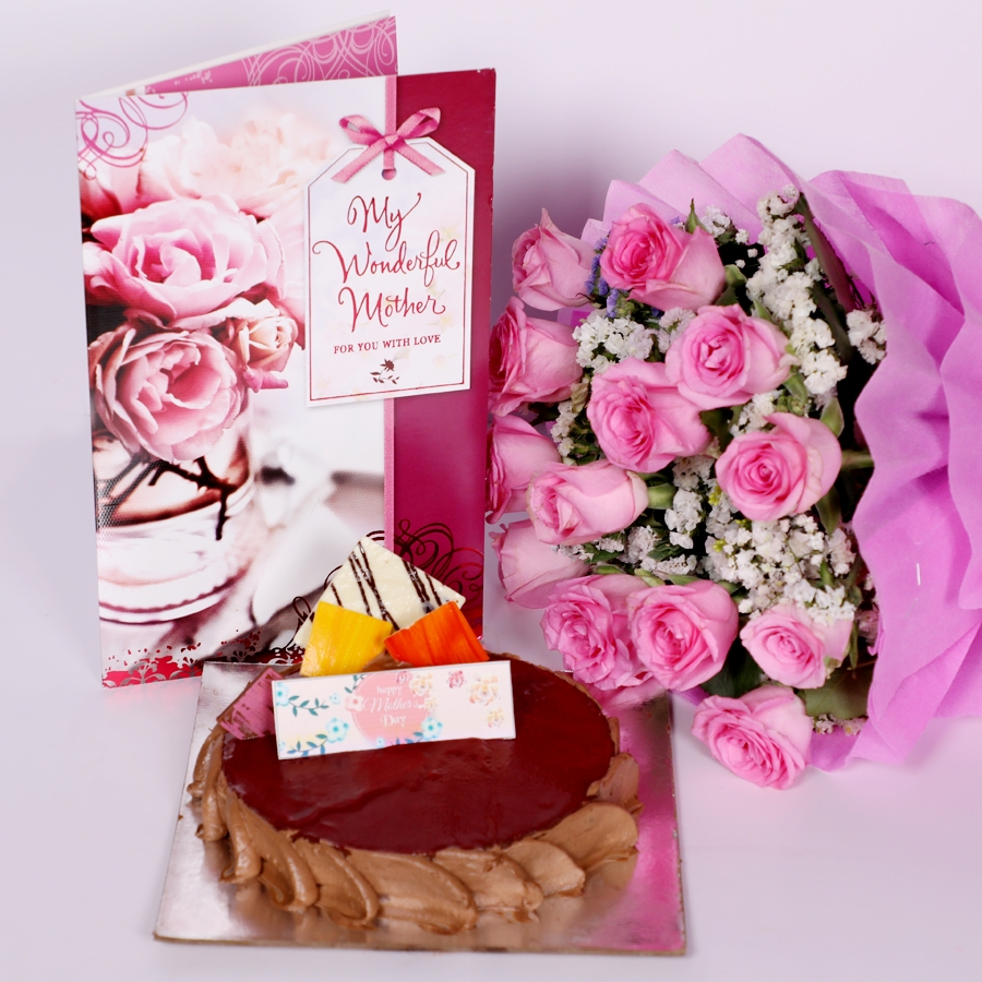 Mothers Day Chocolate crousillant 500gms with card & bouquet of 15 pink roses