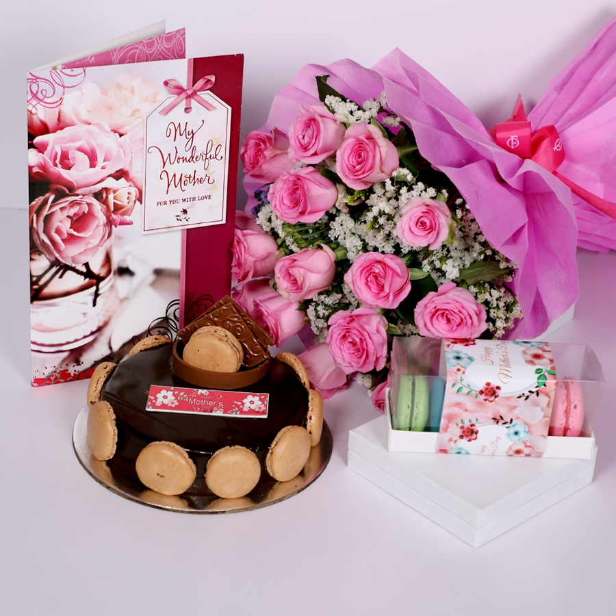 Mothers Day Chocolate Dutch truffle Divine 500gms with card & bouquet of 15 pinkroses & Box of 5 macaroons