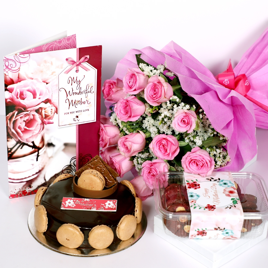 Mothers Day Chocolate Dutch truffle Divine 500gms with card & bouquet of 15 pinkroses  & box of red velvet cookie 150gms