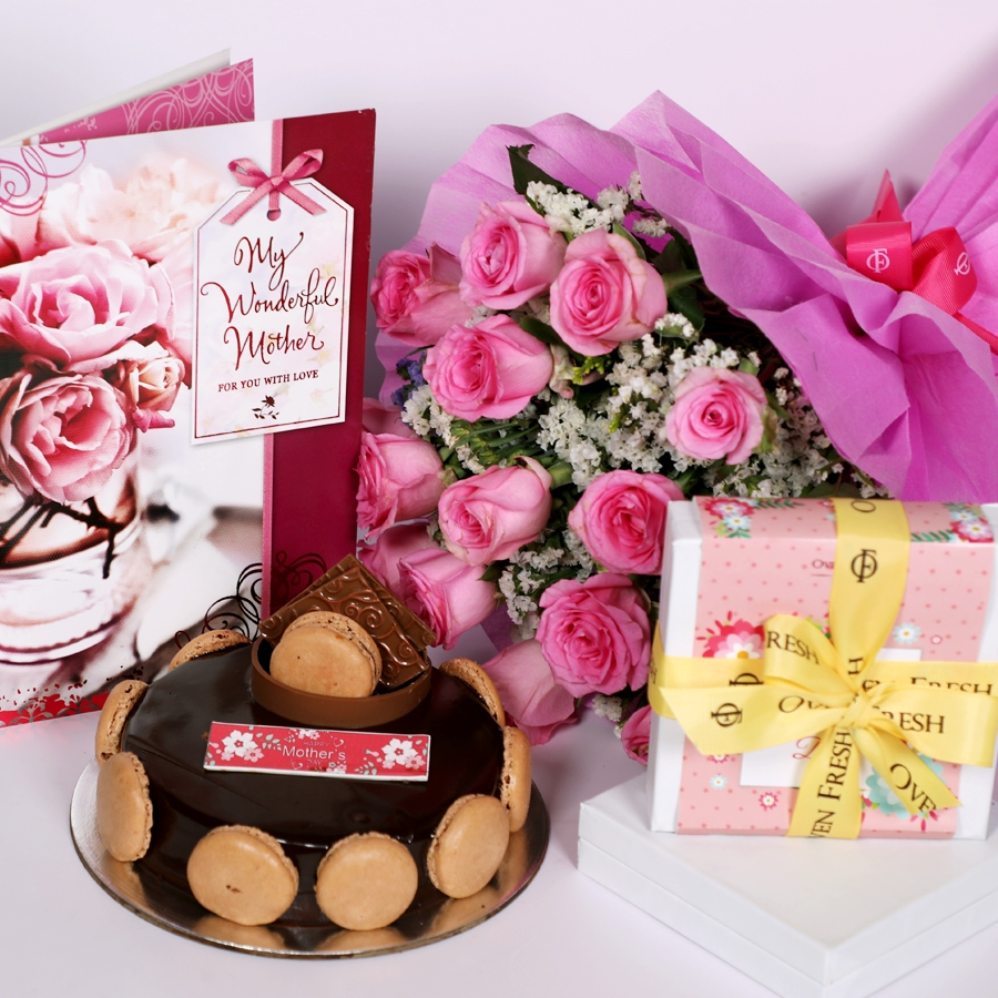 Mothers Day Chocolate Dutch truffle Divine 500gms with card & bouquet of 15 pinkroses & Box of 9 chocolate pralines