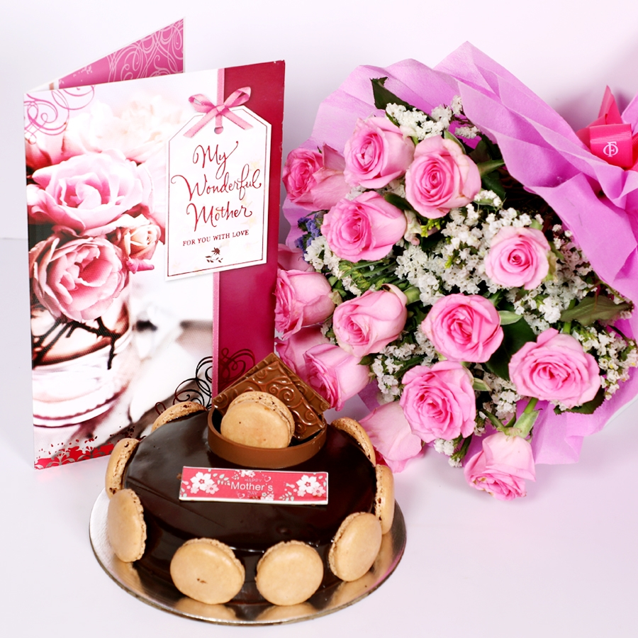 Mothers Day Chocolate Dutch truffle Divine 500gms with card & bouquet of 15 pinkroses