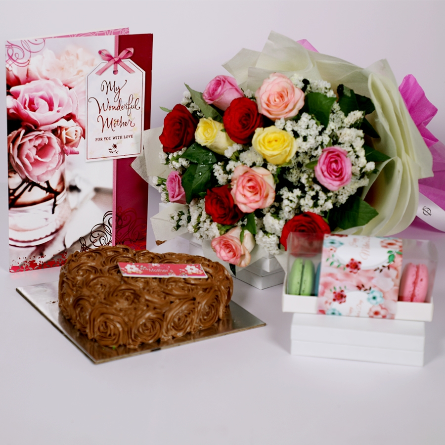Mothers day Chocolate dutch truffle heart shape 500gms with card & bouquet of 12 mix roses & box of 5 macaroons