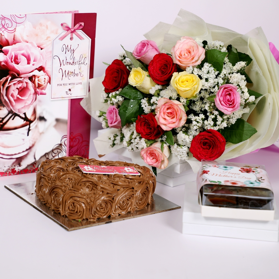 Mothers day Chocolate dutch truffle heart shape 500gms with card & bouquet of 12 mix roses & box of 6pcs of brownies