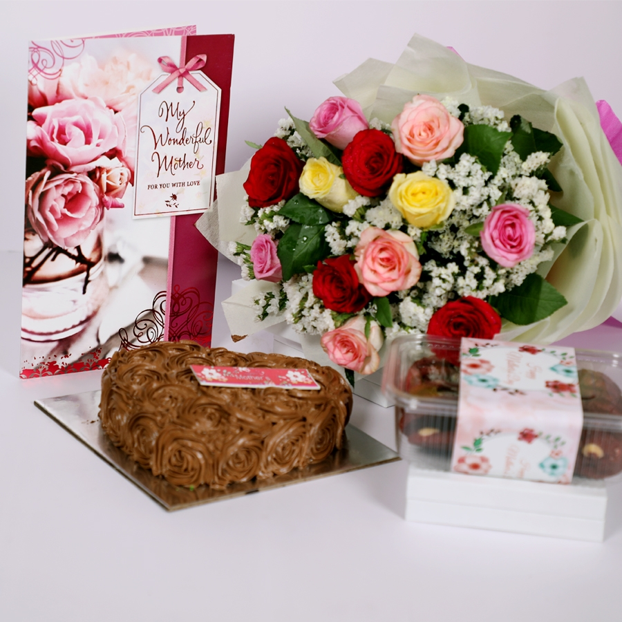 Mothers day Chocolate dutch truffle heart shape 500gms with card & bouquet of 12 mix roses & box of assorted cookies 150gms