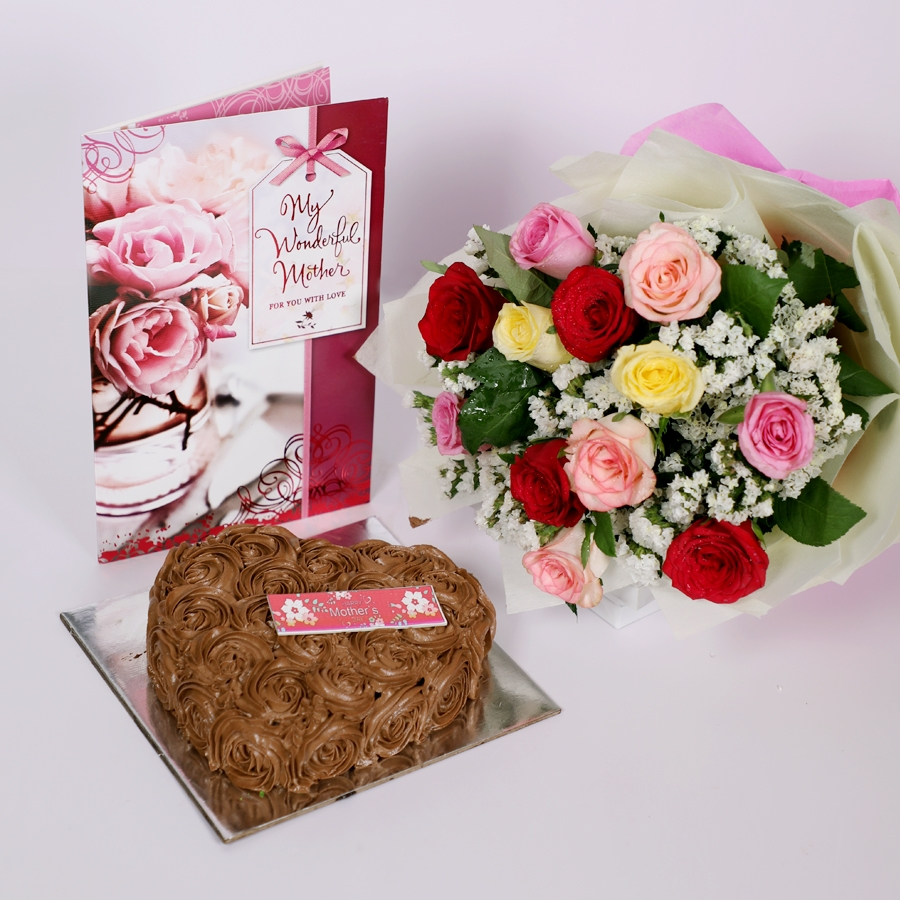 Mothers day Chocolate dutch truffle heart shape 500gms with card & bouquet of 12 mix roses