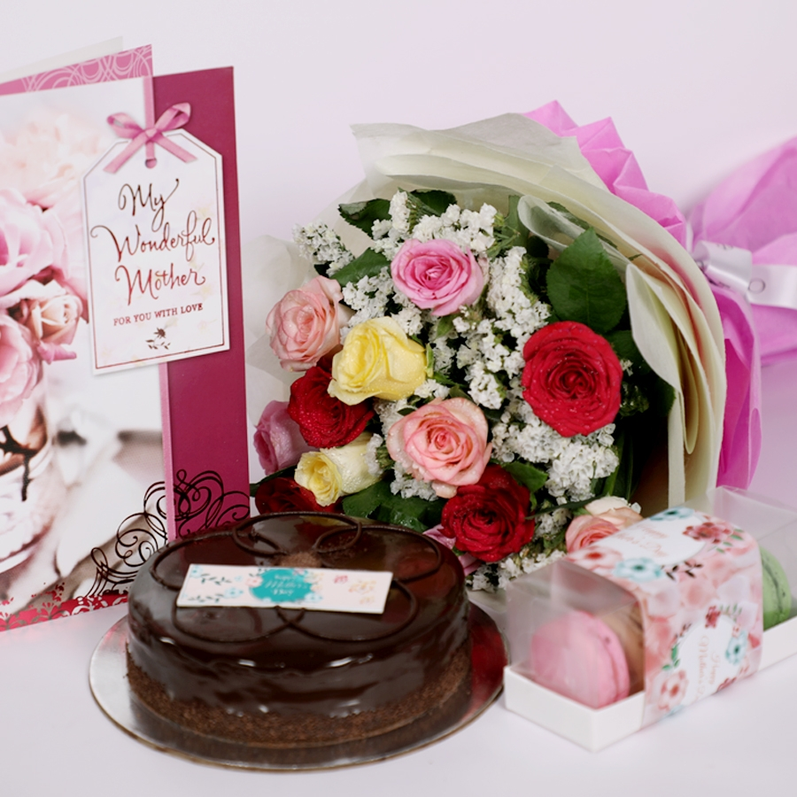 Mothers day Chocolate dutch truffle shine 500gms with card & bouquet of 12 mix roses & box 5 macroons