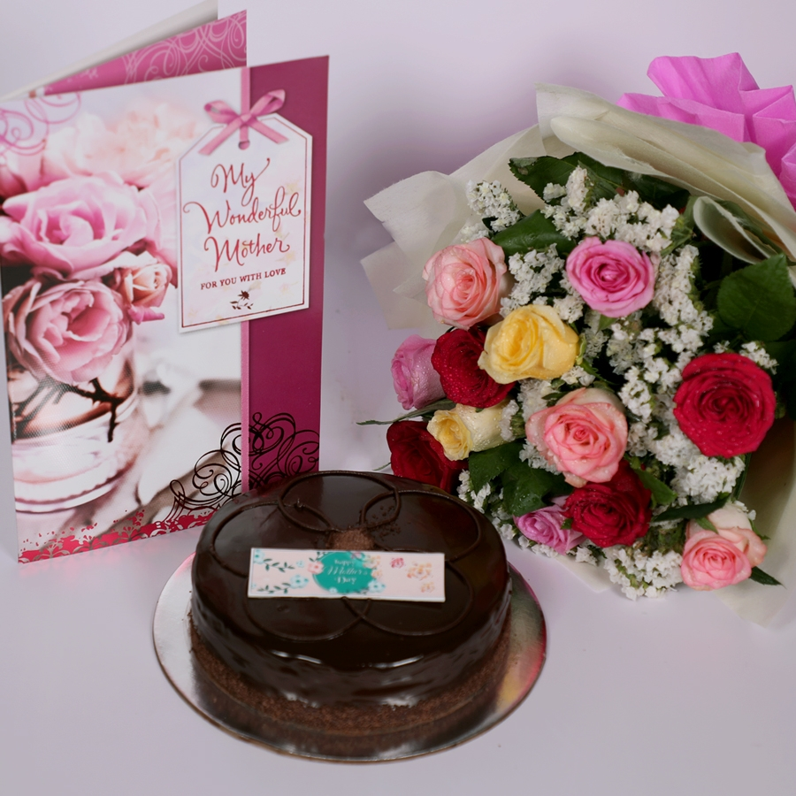 Mothers day Chocolate dutch truffle shine 500gms with card & bouquet of 12 mix roses