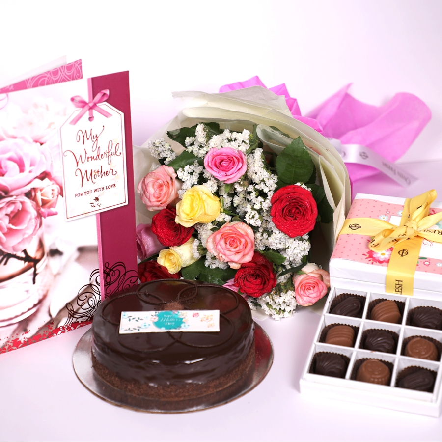 Mothers day Chocolate dutch truffle shine 500gms with card,Box of 9 chocolate pralines & bouquet of 12 mix roses